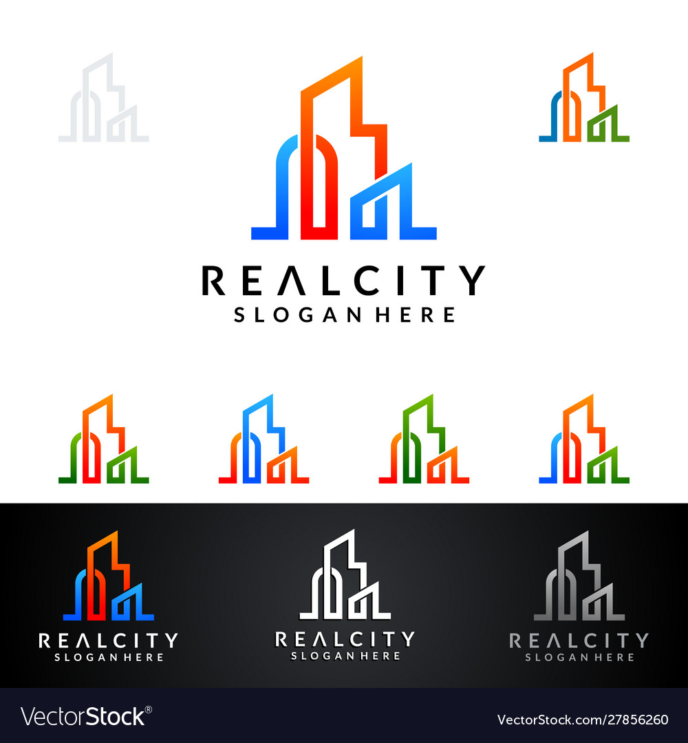 Real estate logo design abstract building and