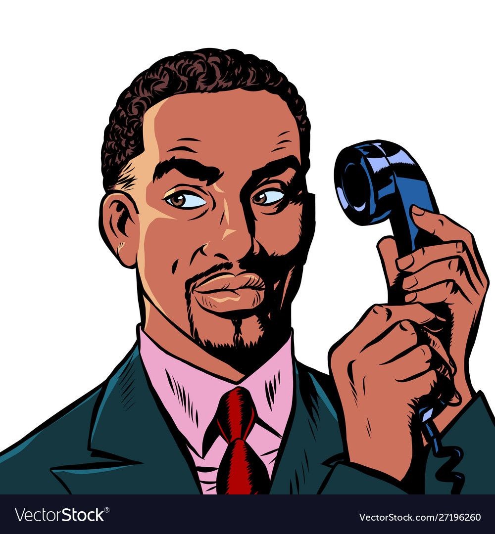 Serious african man talking on a retro phone