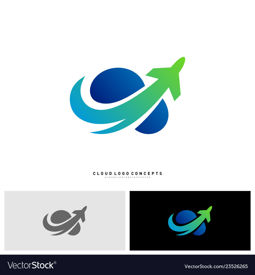 Airplane cloud logo design concept