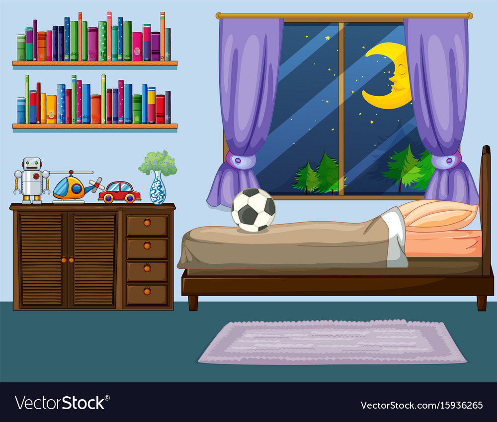 Bedroom scene with wooden furniture vector image