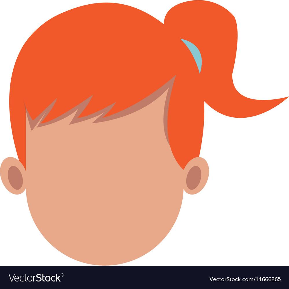 Cartoon woman head faceless hair style
