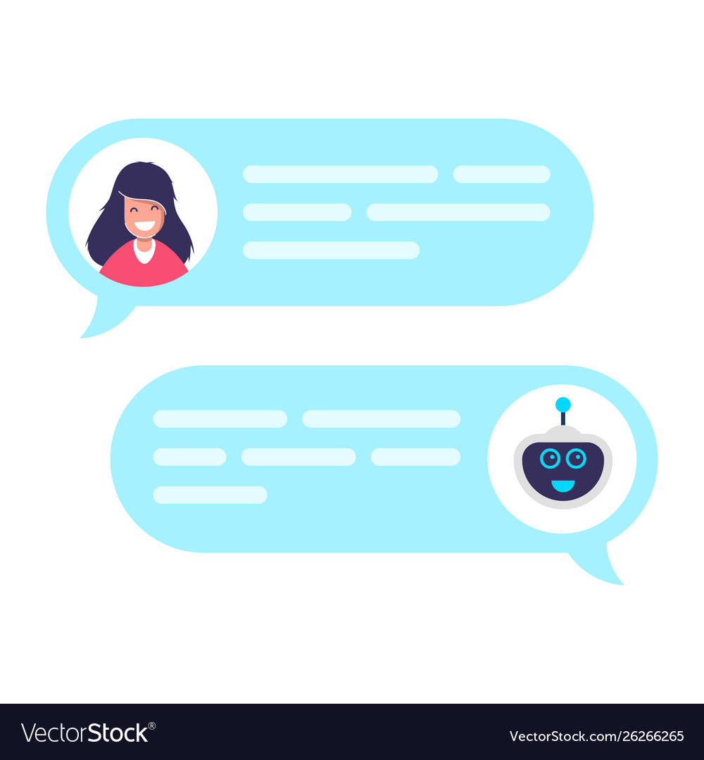 Chat bot robot concept dialog with technical