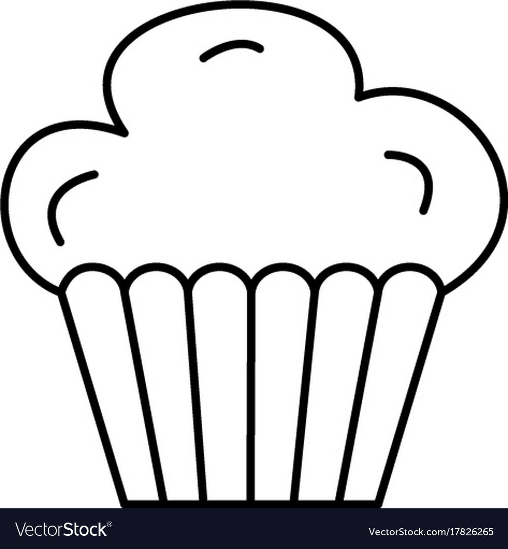 Cupcake muffin line icon sign