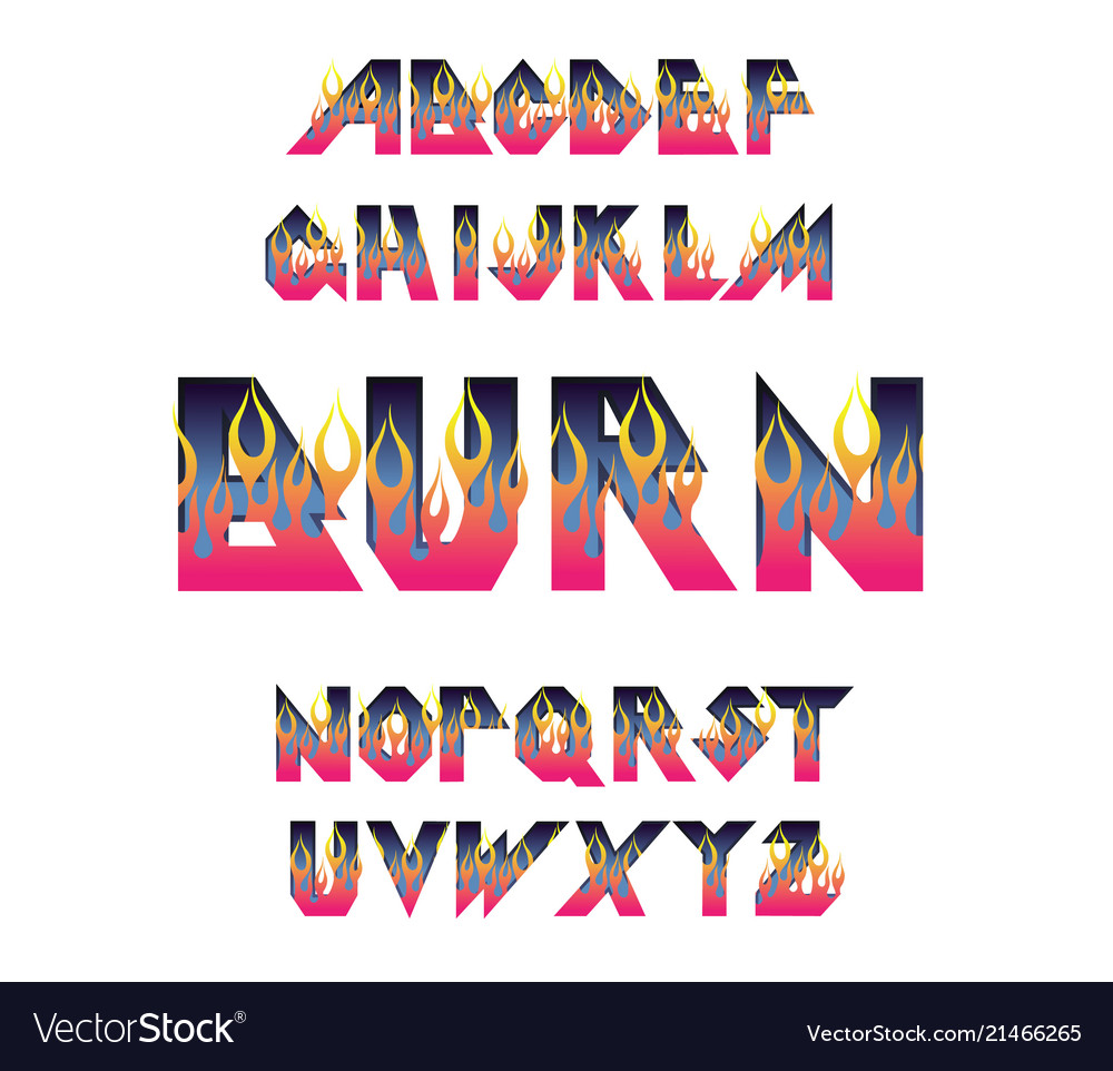 Fire flame burning fonts