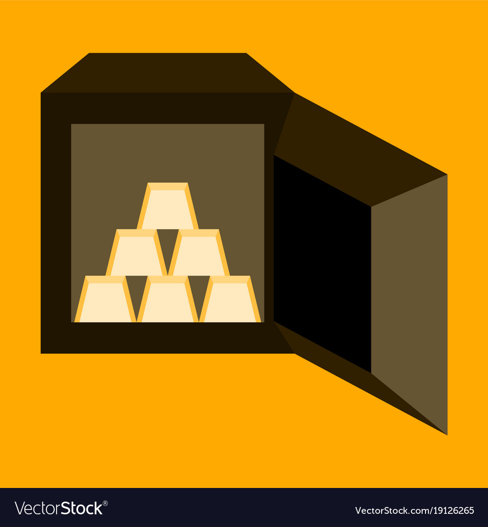 Flat icon on stylish background gold bars in a Vector Image