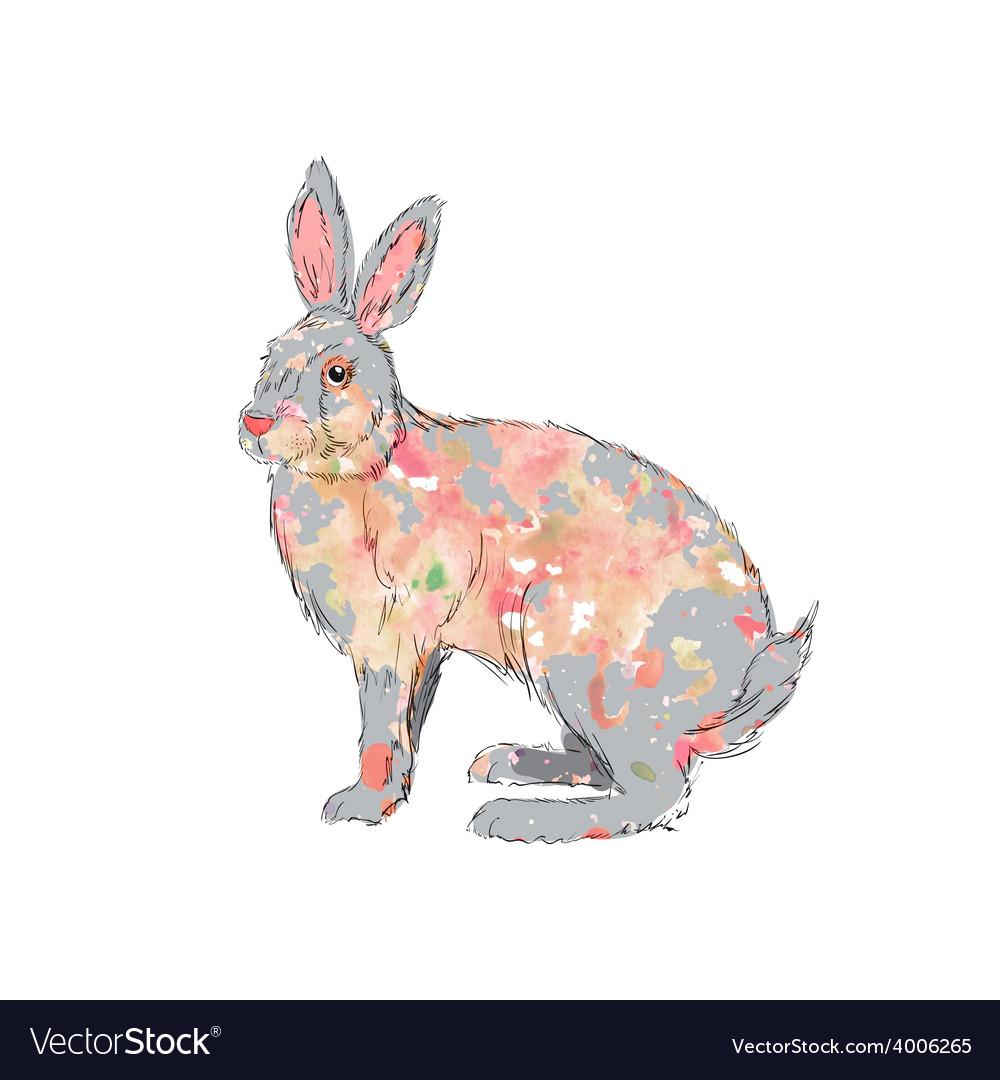 Hand drawn watercolor rabbit