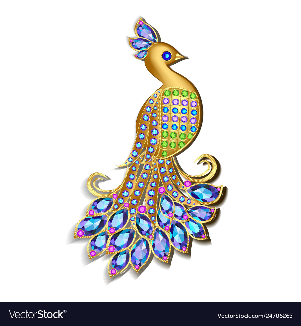Jewelry brooch peacock with precious stones