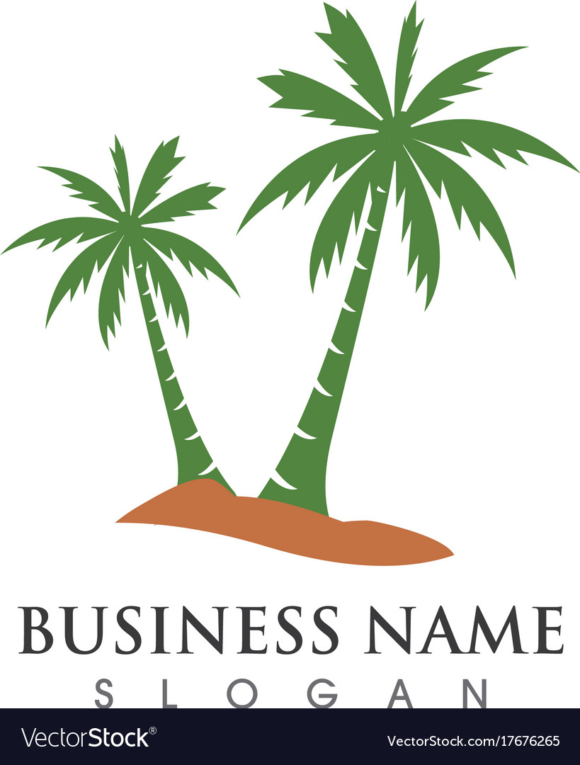Palm Tree Summer Logo Template Royalty Free Vector Image