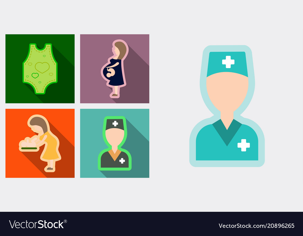 Set of medical icons mether with baby doctor and