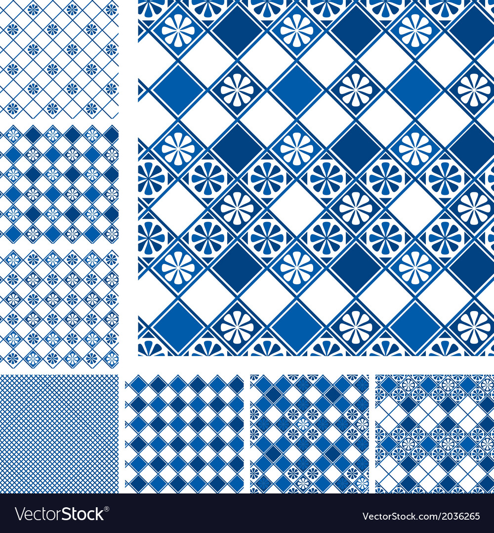 Set of seamless patterns - blue ceramic tiles with