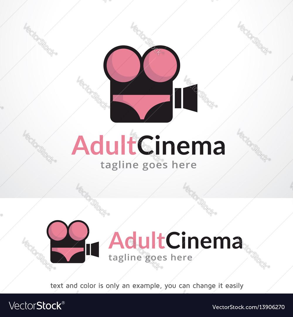 Adult cinema logo template design