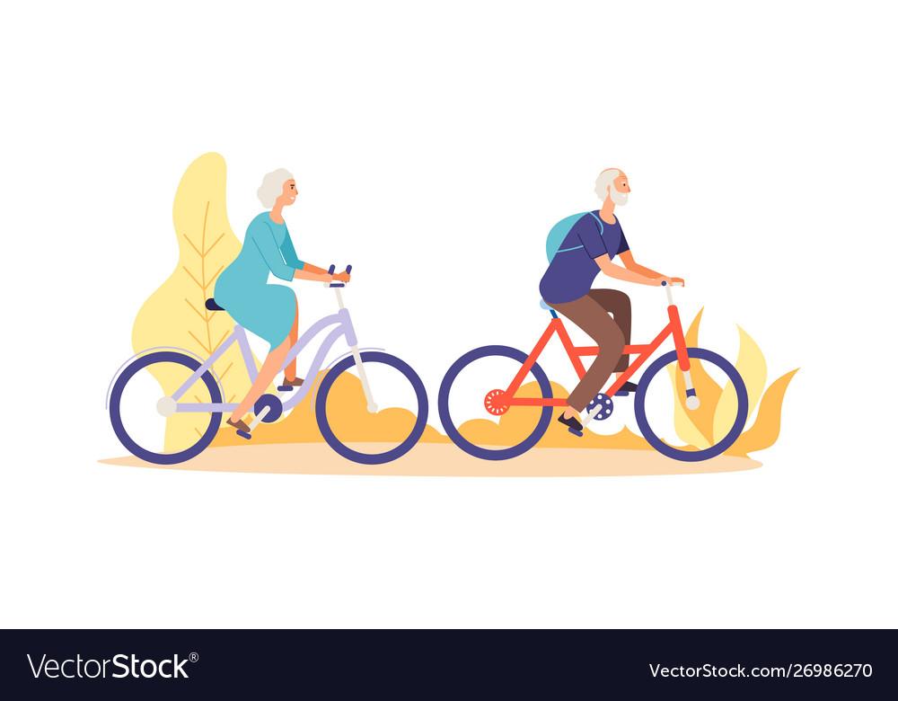 Autumn bike ride concept flat elderly characters