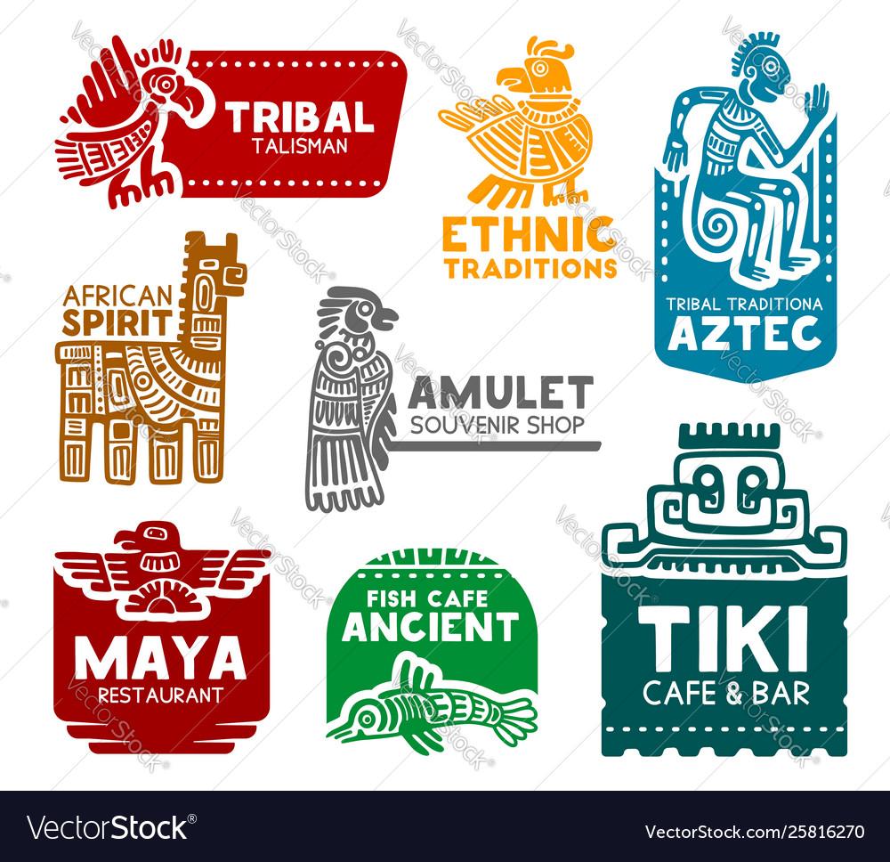 Aztec and mayan symbols corporate identity icons