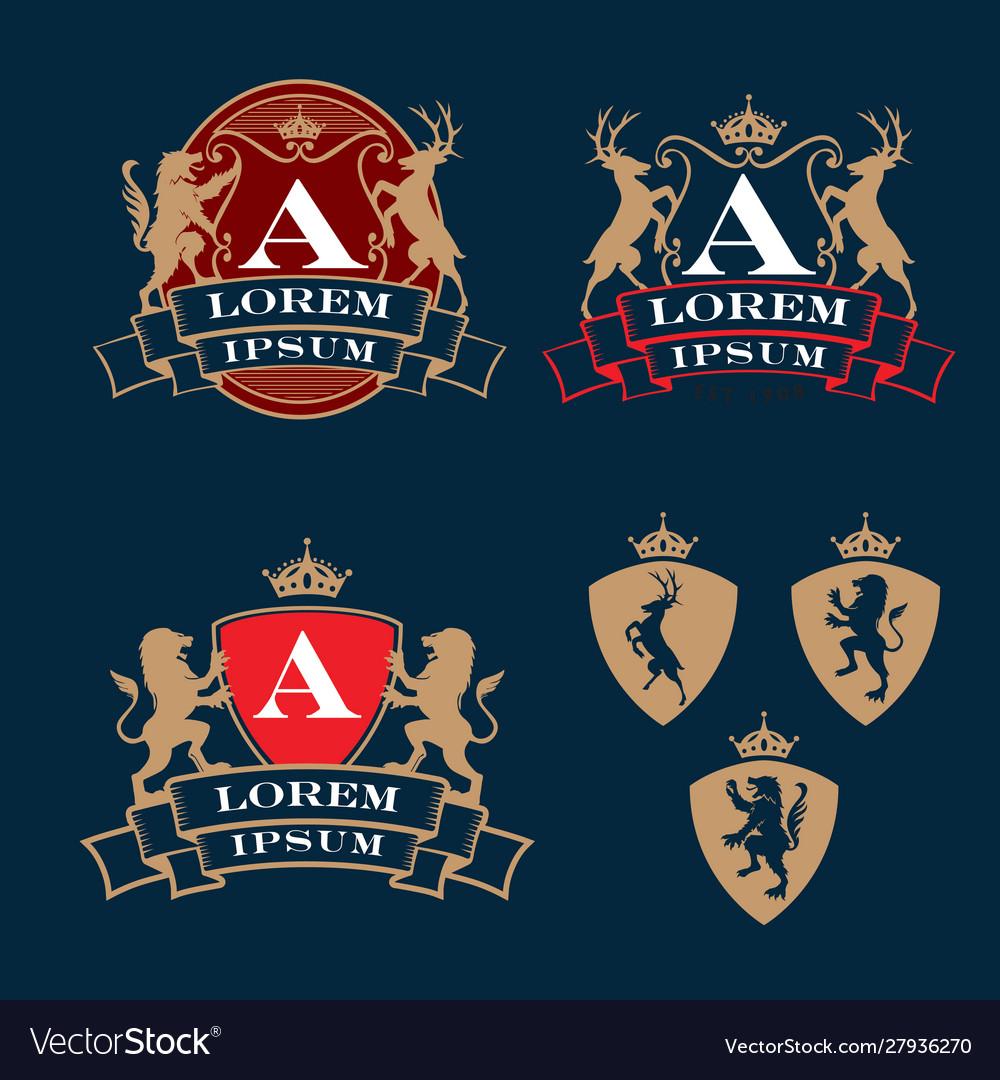 Crest coat arms heraldry theme logo set