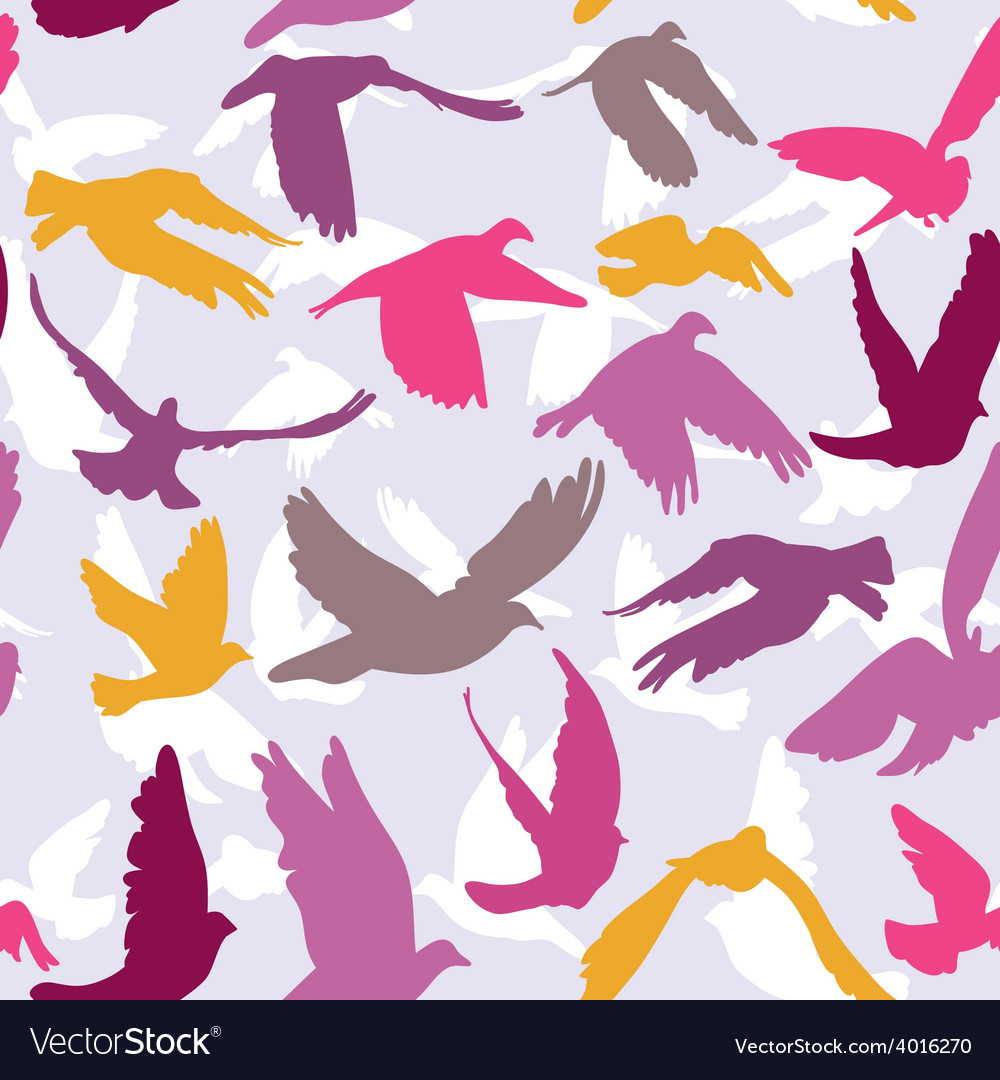 Doves and pigeons seamless pattern on lilak