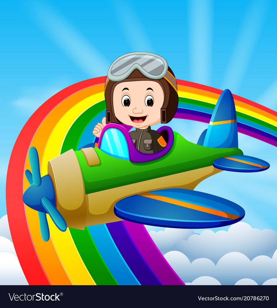 Funny pilot riding plane over rainbow