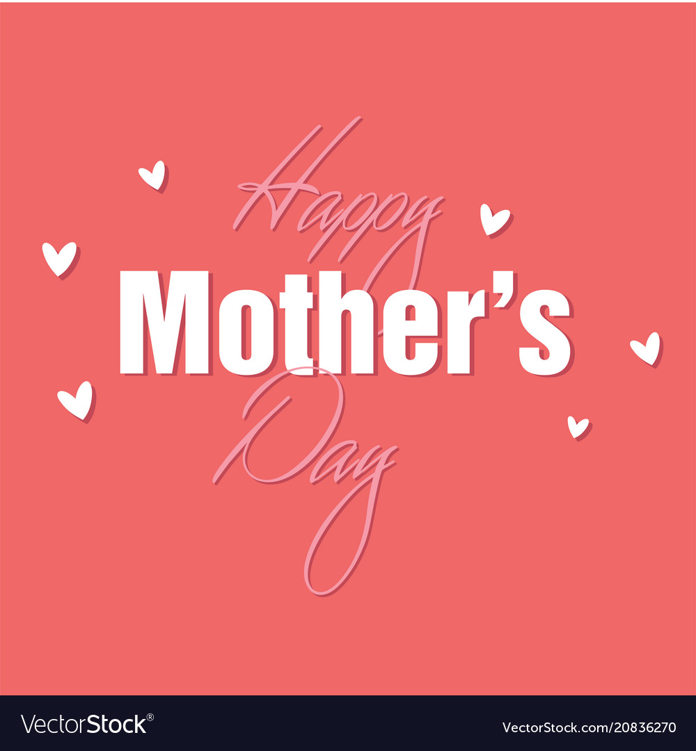 Happy mother day mini heart pink background vect