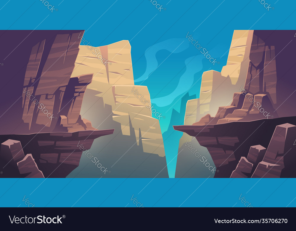 Mountain landscape with chasm in rocks