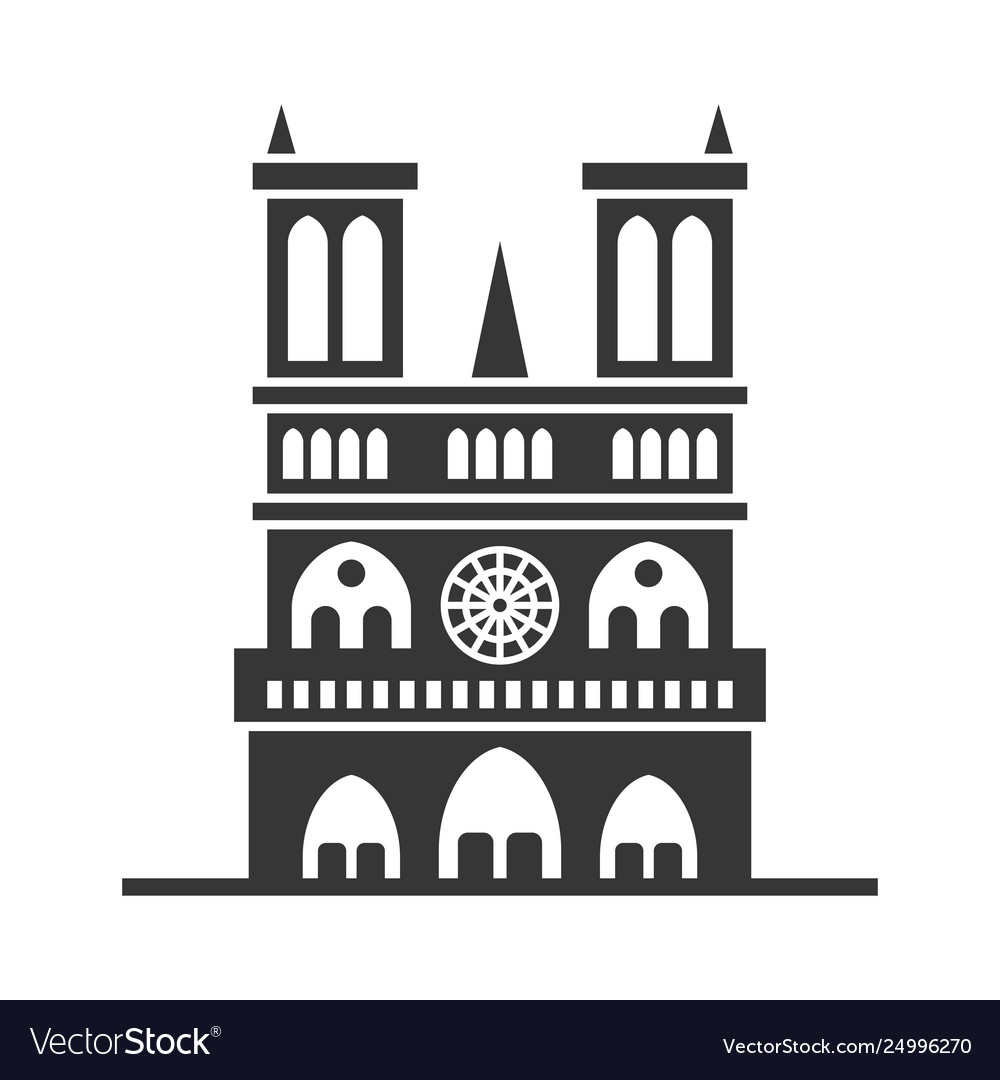 Notre dame de paris cathedral line art style