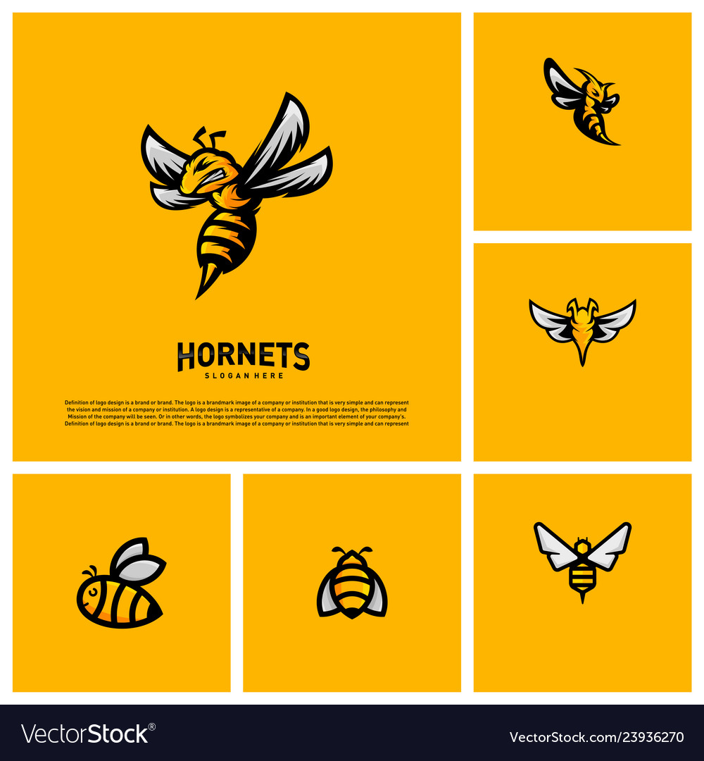 Set of bee logo design hornets logo template