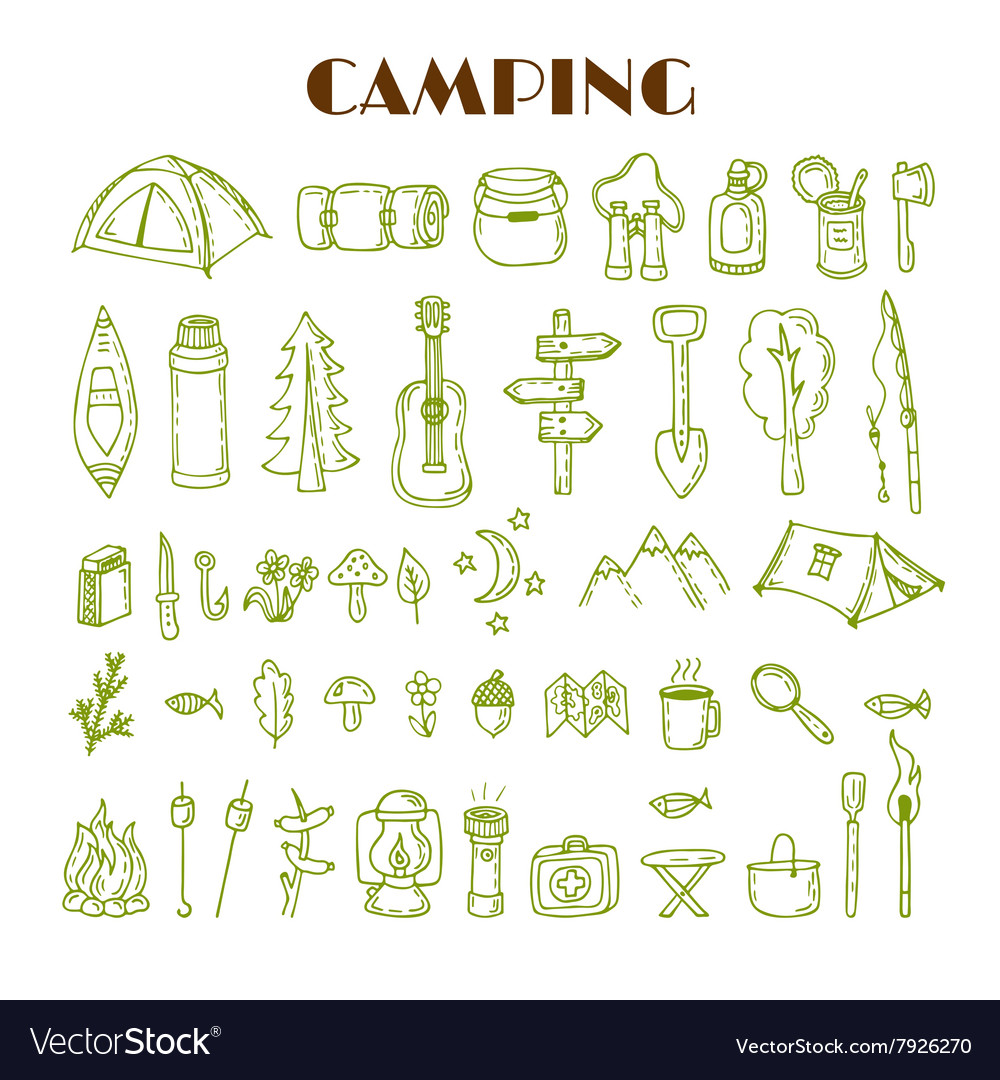 Set of hand drawn camping and hiking equipment vector image