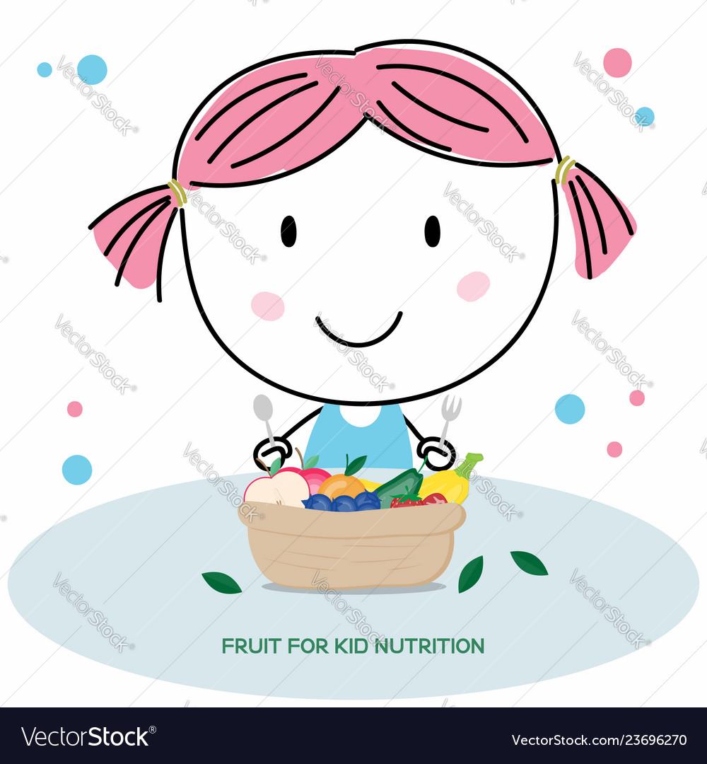 Simple Hand Drawing Cute Kid Cartoon Eating Fruits
