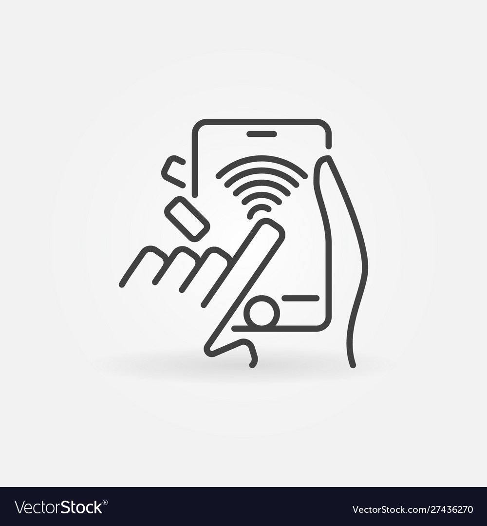 Wifi smartphone in hands outline icon smartphone