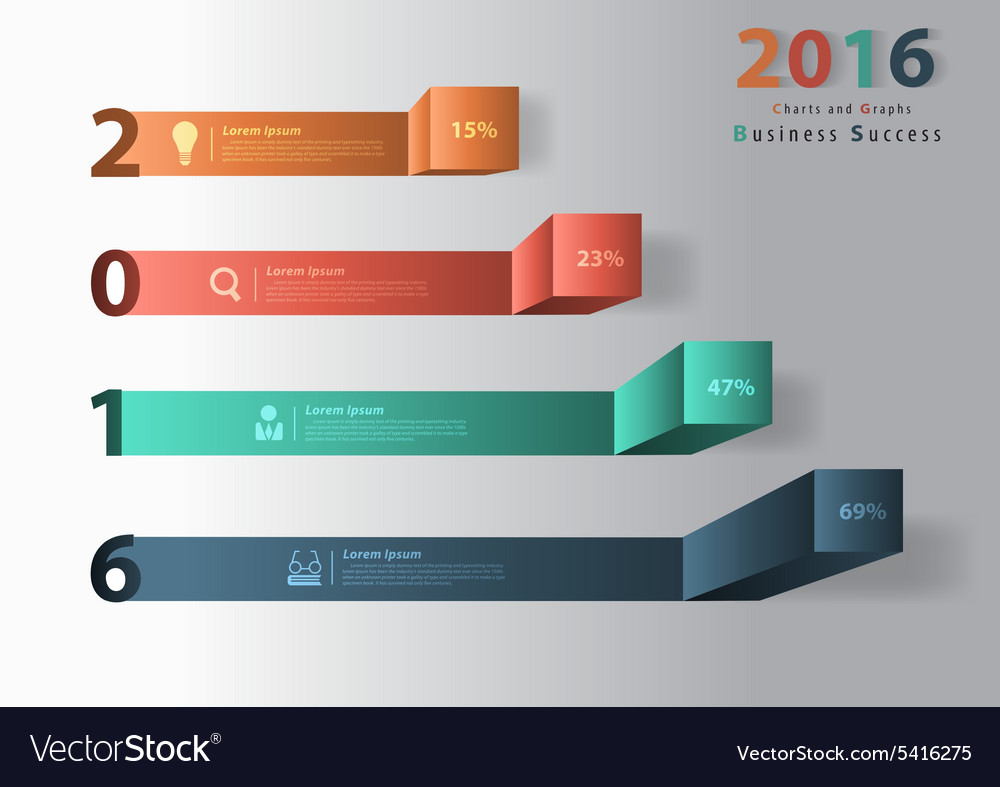 2016 new year modern business steps to success cha vector image