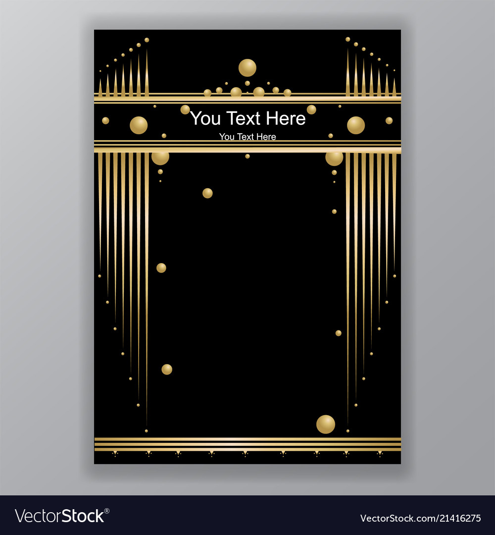 Art deco template golden-black