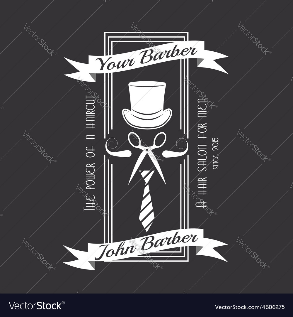 Barber And Haircut Logo Or Label Design Emblem Of Vector Image