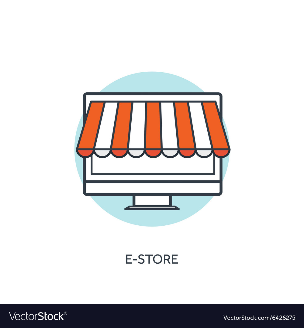 Flat lined e-store koncept background with vector image
