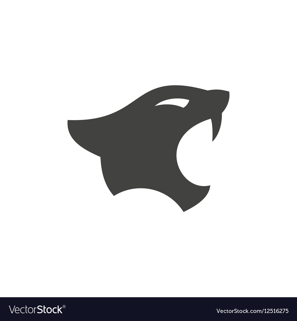 Panthers head with open mouth in minimalism flat