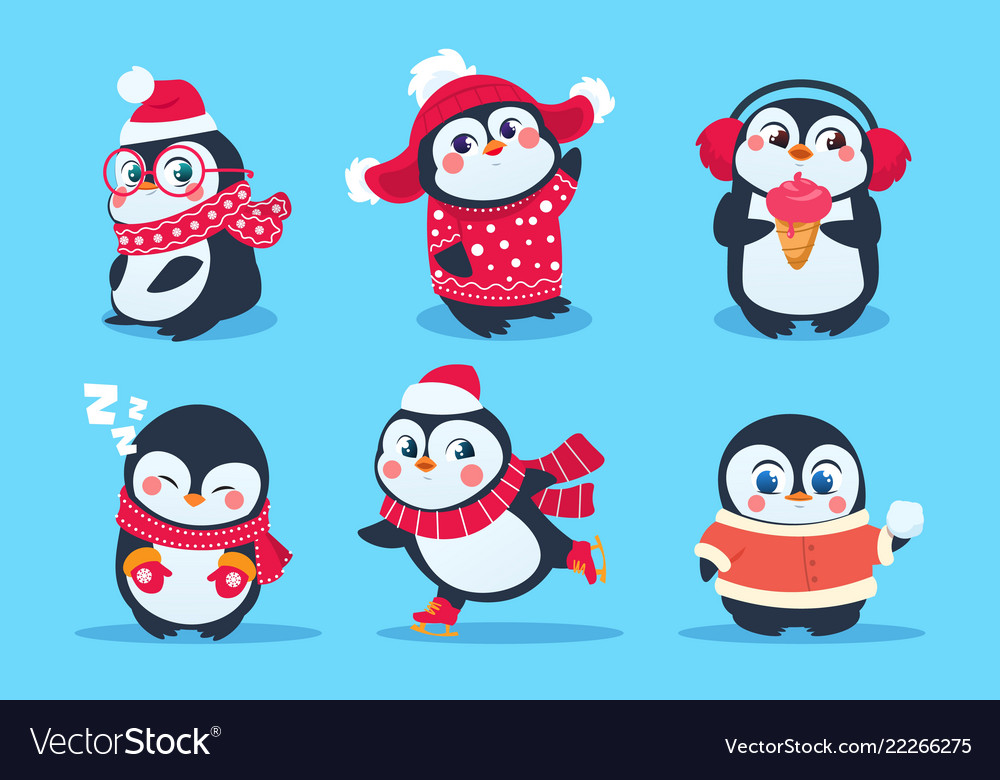 Penguins christmas penguin characters in winter