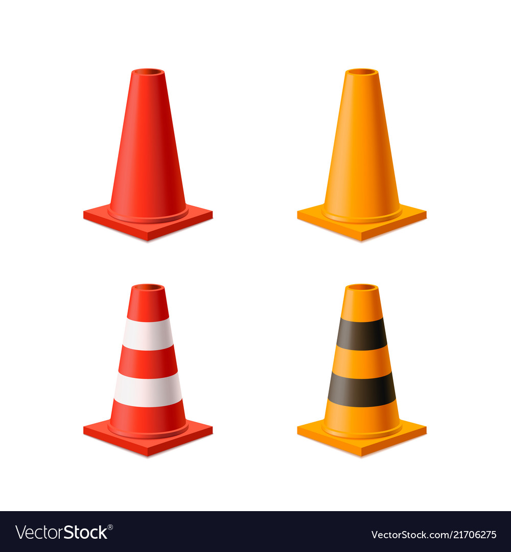 Set bright yellow and red road cones isolated