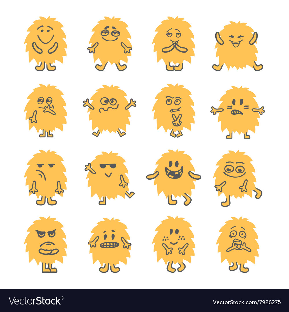 Set of hand drawn cartoon smiley monsters vector image