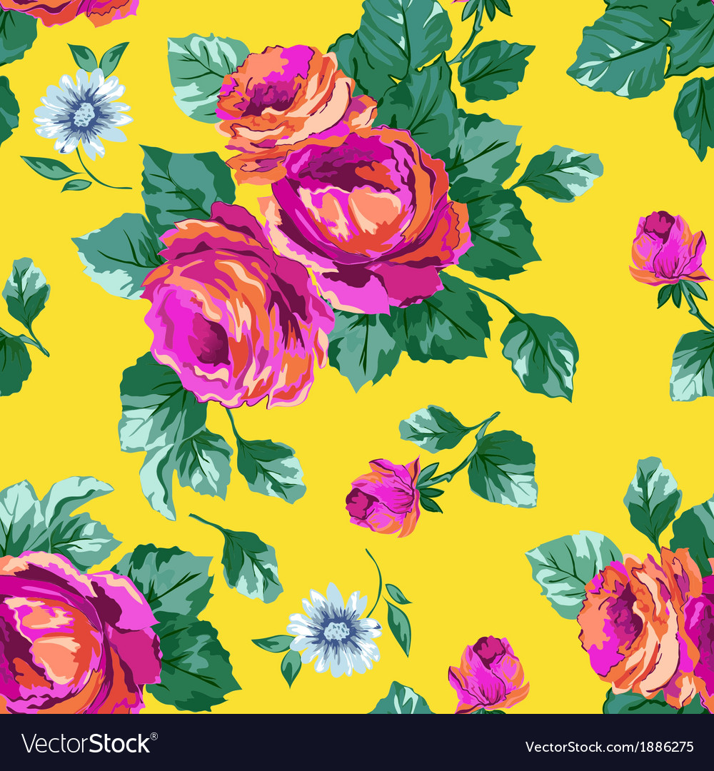 Sexy Pink Roses on Yellow background