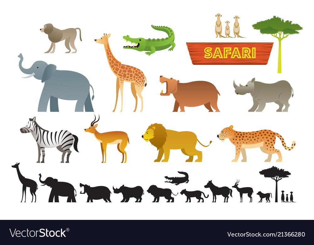 African safari animals set