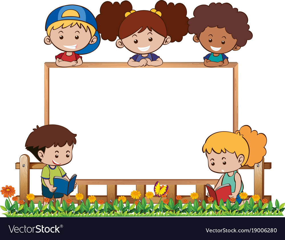 Board template with five kids in garden