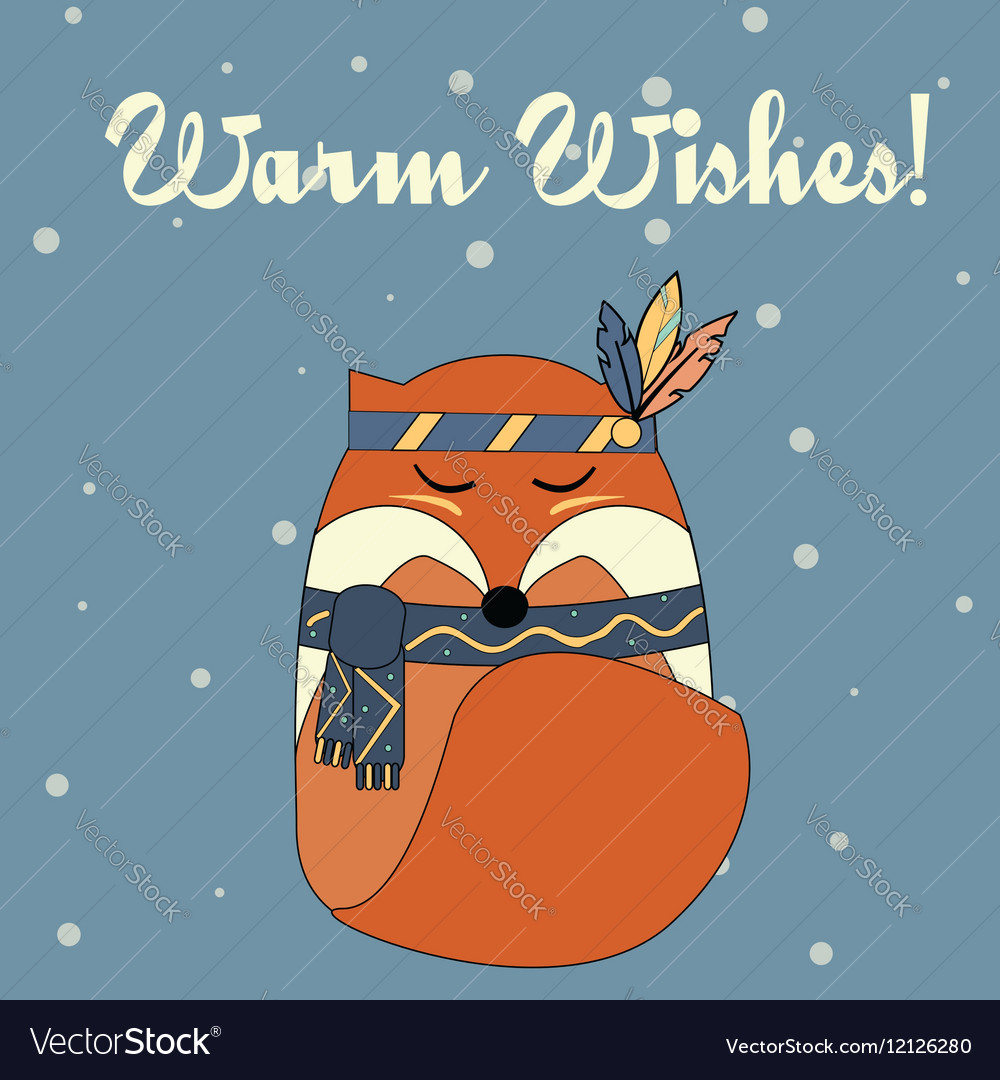 Boho fox in hand drawn style Winter seasonal