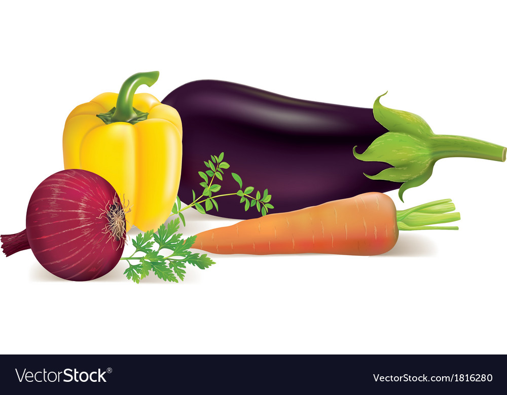 Eggplant peppers carrots onions parsley marjoram