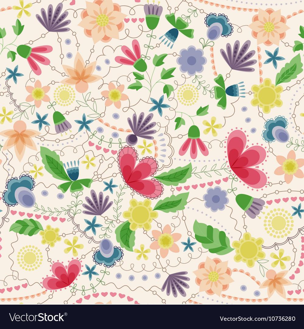 Fantasy flowers seamless pattern vintage