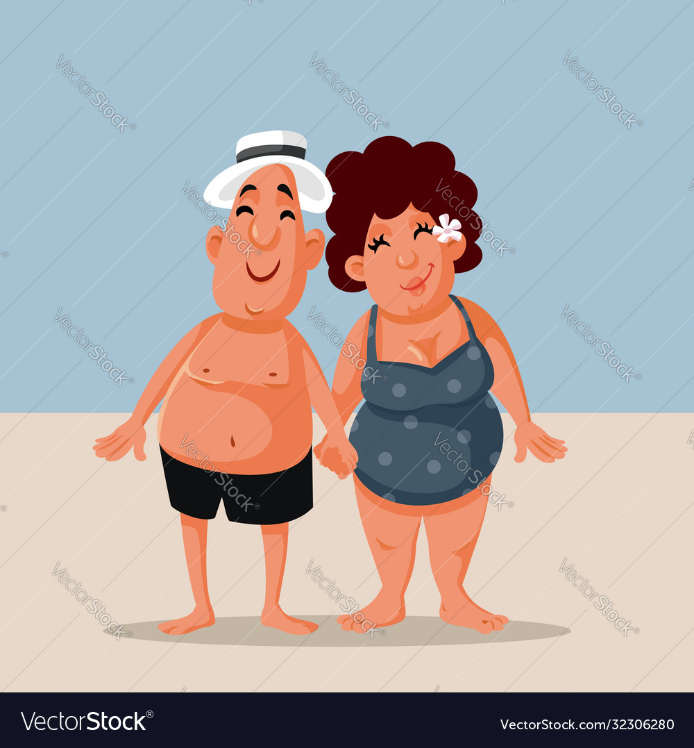 Funny cartoon couple at beach in summer