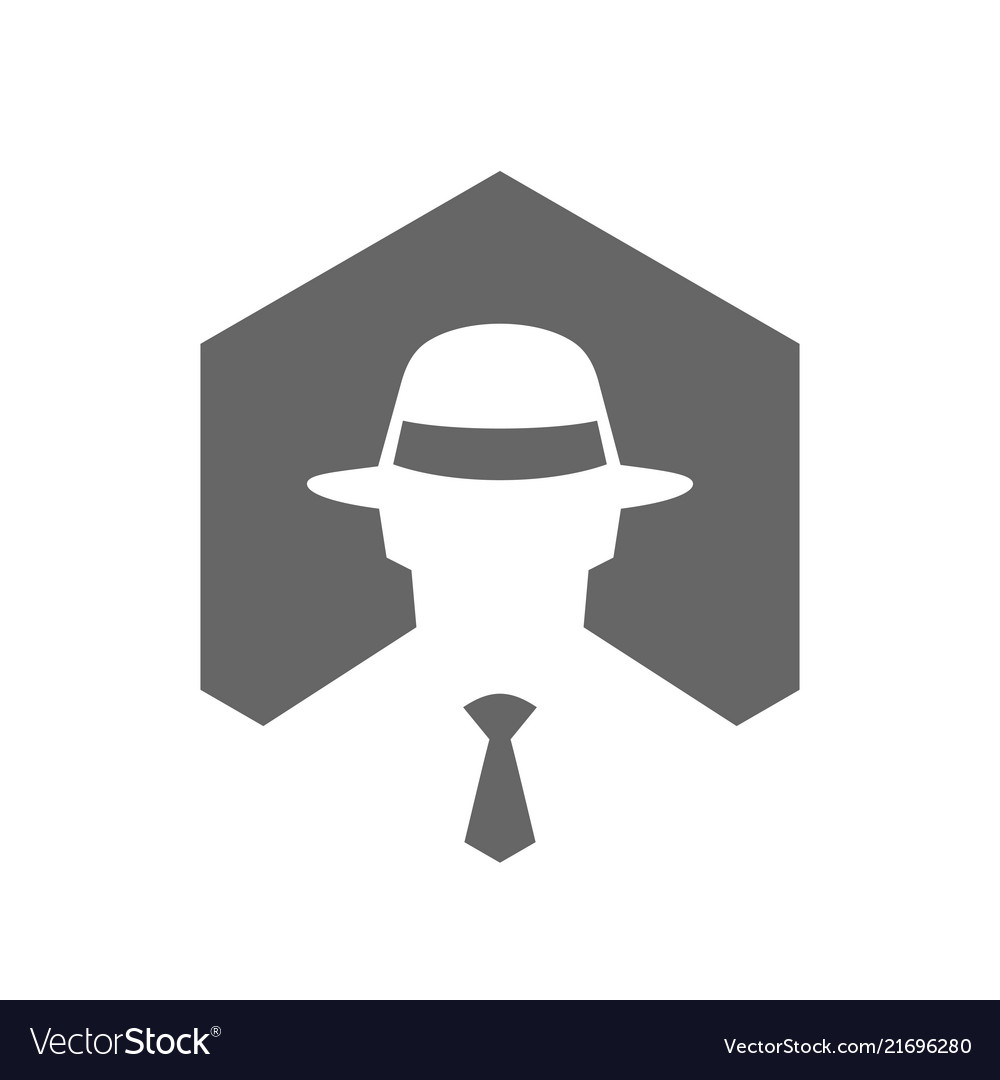 9f34d5d0 Hexagonal incognito icon hacker logo design Vector Image