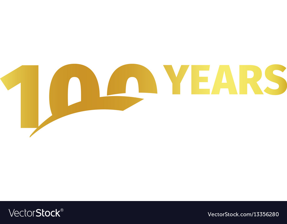 Isolated golden color number 100 with word years