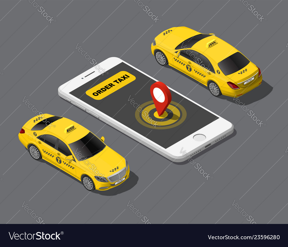 Isometric online order mobile city taxi service