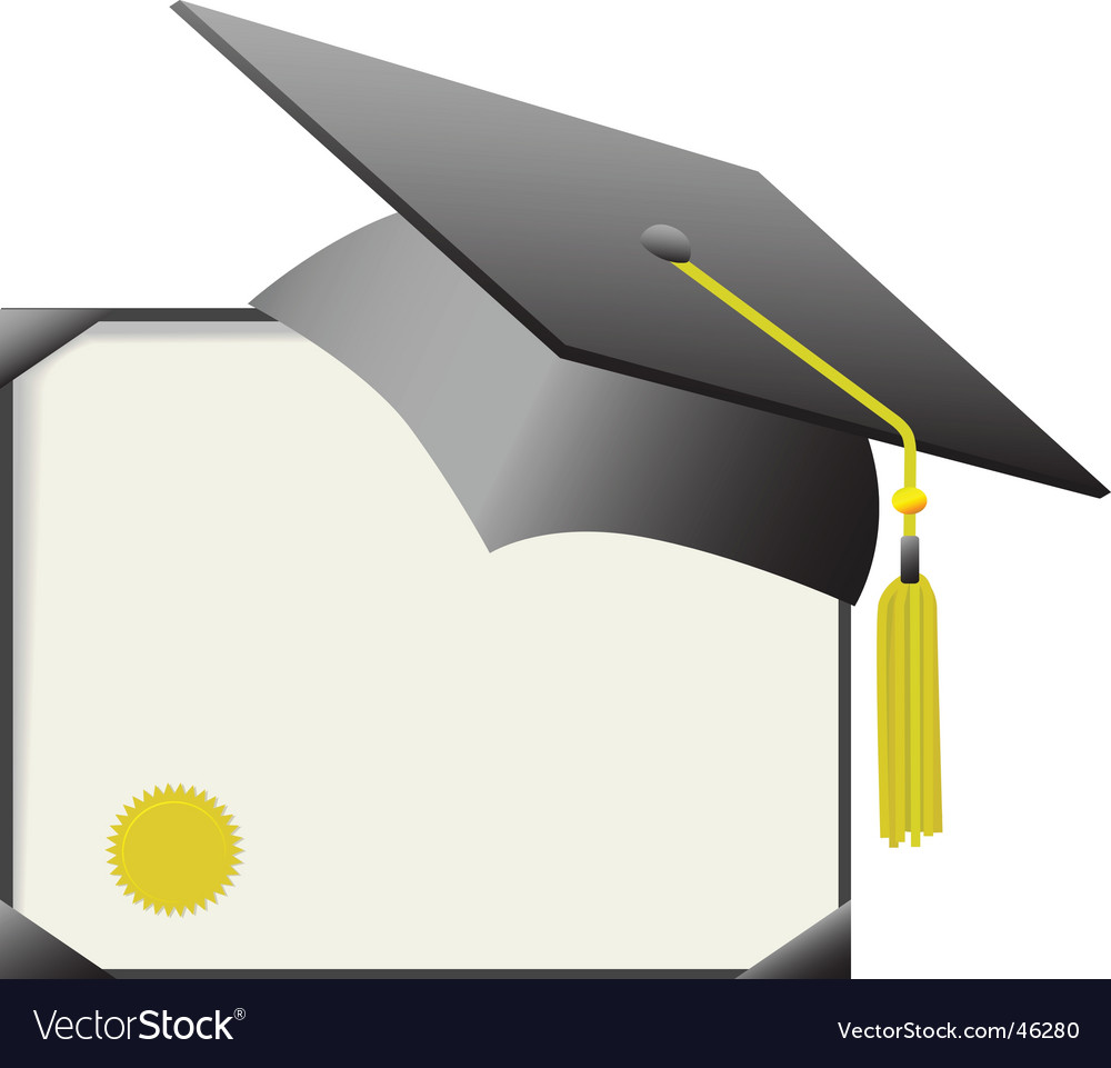 Mortarboard graduation cap and diploma vector image