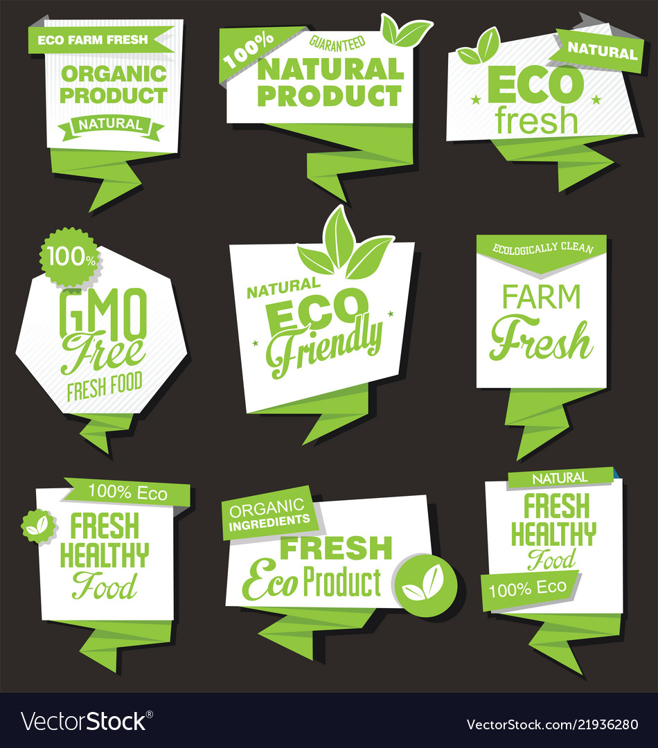 Natural organic products collection of labels