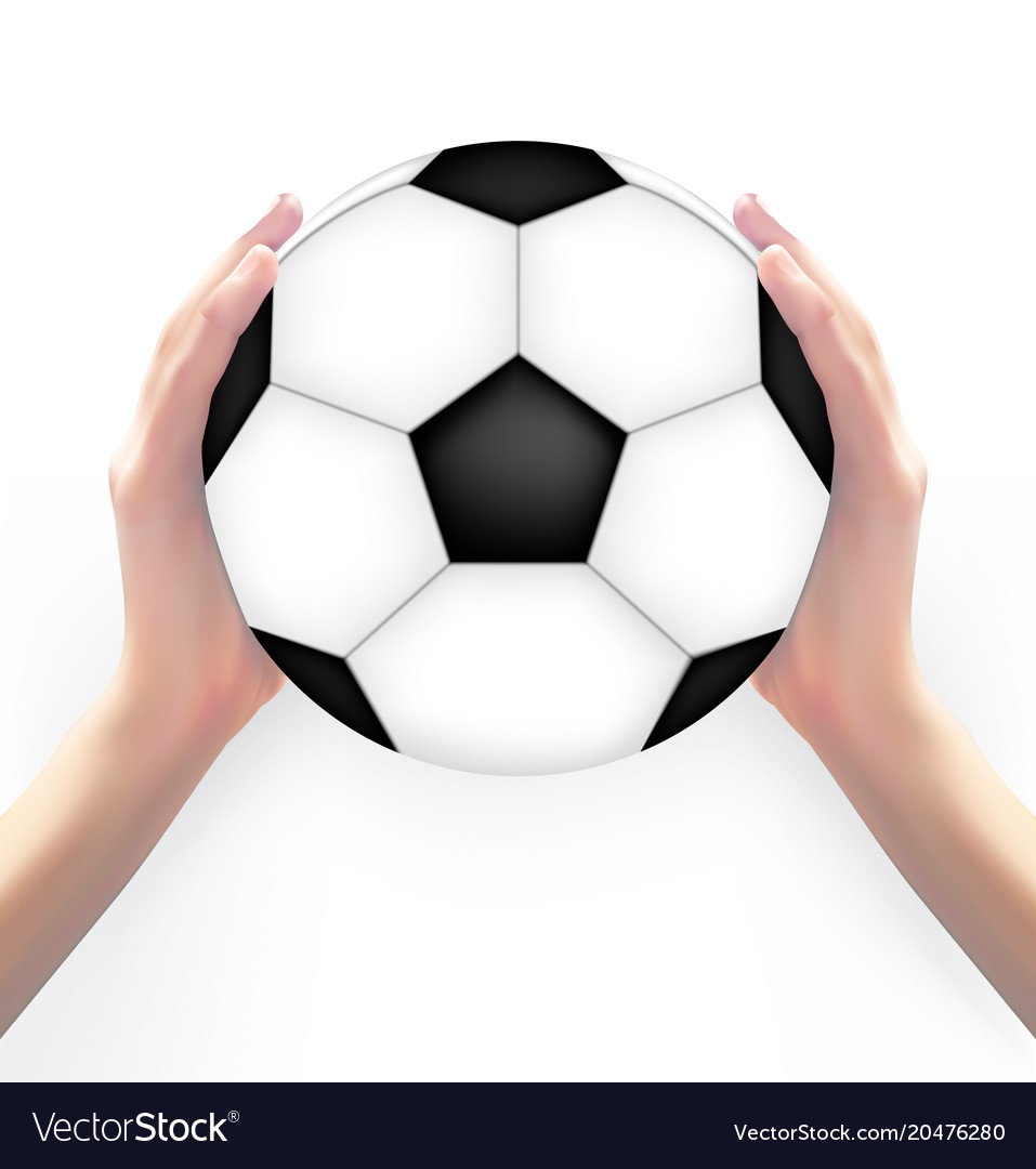 Naturalistic 3d model of football with hands of vector image