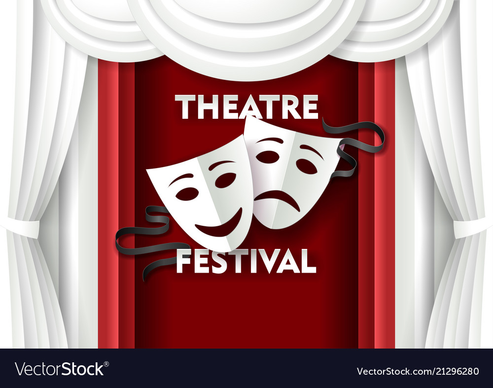 Paper cut theater festival poster template