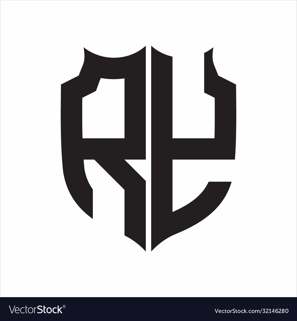 Ry Logo Shield Style Monogram Design Template On Vector Image